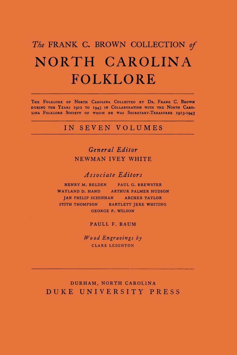 the frank c  brown collection of nc folklore  vol  v  the
